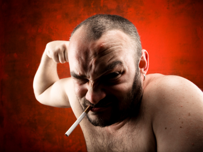 Angry man smoking